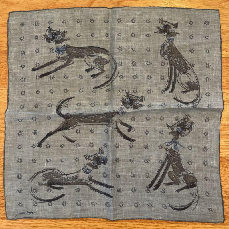 "Jeanne Miller Cat Motif Linen Handkerchief / Hanky 14.5"" Square"