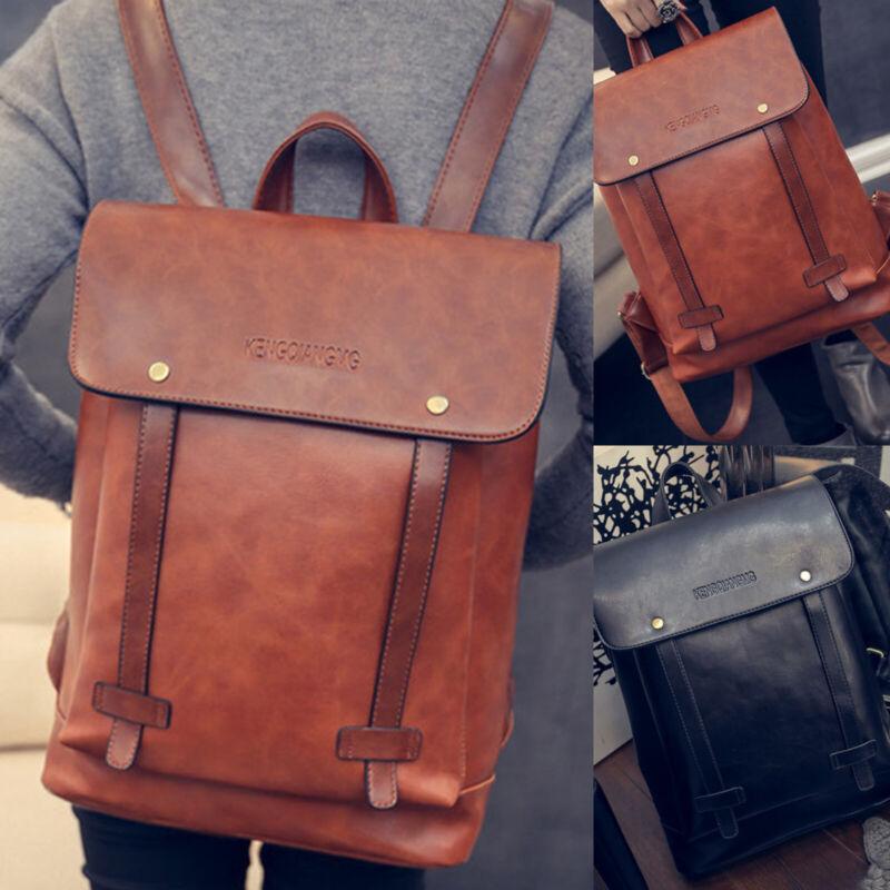 Women Men Vintage PU Leather Backpack School Shoulder Bag Tr
