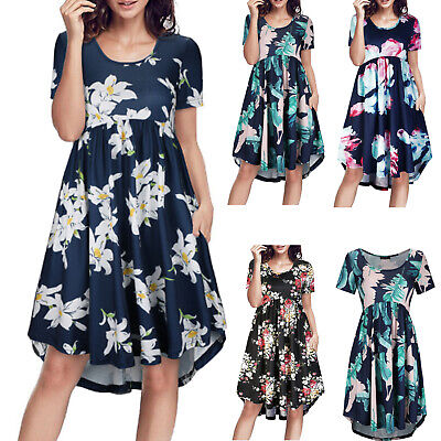 Women's Summer Short Sleeve Floral Dress Casual Loose Party Midi Dress Sundress