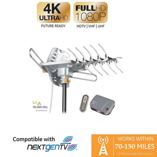 Refurbished LAVA HD-2605 Ultra Outdoor TV Antenna, Remote Controlled 4K HDTV 360