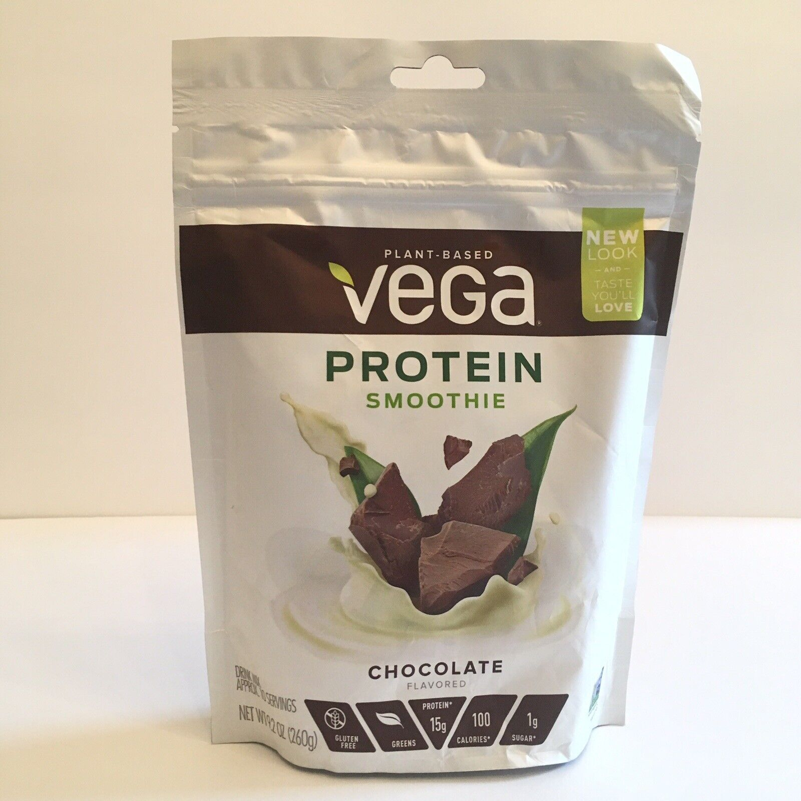 Vega Protein Smoothie, Chocolate, 10 Servings, 9.2 oz Pouch,