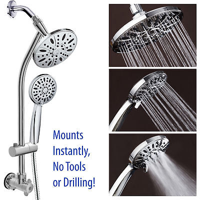 """Chrome Rub out 28"""" DrillFree Stainless Steel Slide Bar Combo W 7"""" Downpour Showerhead"""