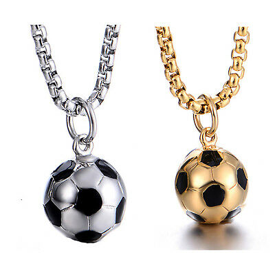 Men's Stainless Steel Soccer Ball Pendant Necklace