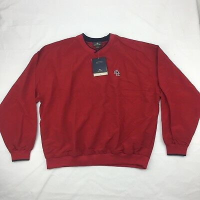 New Antigua Mens Windbreaker Jacket Sz L Large Red Long Sleeve 2 Pockets READ
