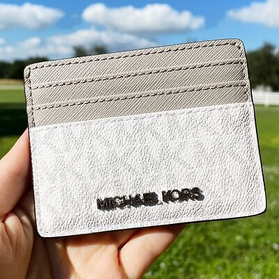 Michael Kors Jet Set Travel Card Holder Wallet Bright White MK Signature Grey