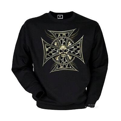 Gothic Biker Heavy Metal Punk Kreuz Totenkopf Rocker Skull Sweatshirt *4057 bl Punk Skull Sweatshirt