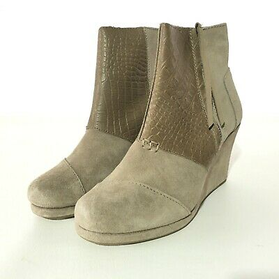 Toms Desert Wedges (Toms Womens Faux Croc Cute Booties Boots Shoes Desert Wedges 7.5)