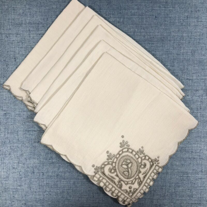 "8 Vintage Madeira Linen 16"" Fancy Napkins Cutwork Taupe Ivory Embroidered Lace"