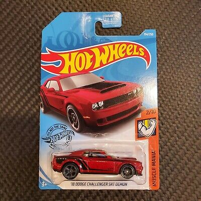 2019 Hot Wheels #194 Muscle Mania 2/10 '18 DODGE CHALLENGER SRT DEMON Dark Red