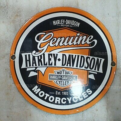 GENUINE HARLEY 12 INCHES ROUND VINTAGE ENAMEL SIGN