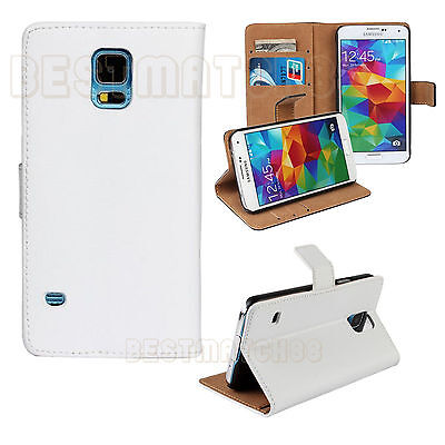 for Samsung galaxy  S5 white genuine leather flip case wallet pocket stand