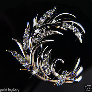14k white Gold plated Swarovski crystals leaf brooch pin