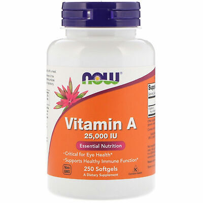 Now Foods VITAMIN A (Fish Oil) 25000 IU, 250 Softgels EYE HEALTH, IMMUNE SUPPORT Immune Support Wellness Oil