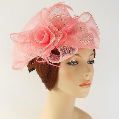 New Woman Church Derby Wedding Sinamay Pillbox Dress Hat SDL-009 Peach Pink
