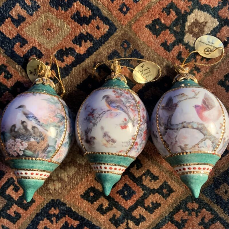 3 Bradford Editions Lena Liu 1999 Song Birds Babies Porcelain Ornament #68742