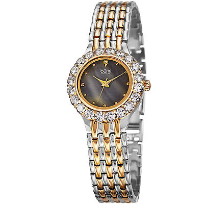 Women's Burgi BUR107TTGB Crystal Bezel Mother of Pearl Bracelet Dress Watch