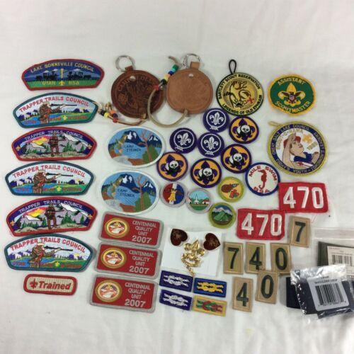 Boy Scout Patch Pins Achievement Lot Patches Mile Swim Shoulder Knots Camp Loop