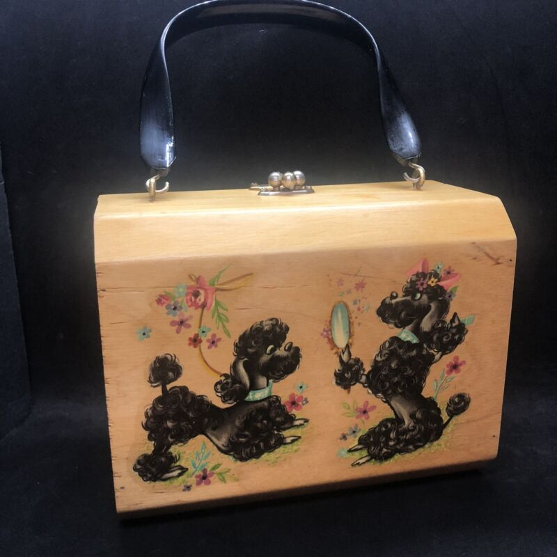 Vintage Wood Box Purse Hand Bag Black Poodles 2 Sided Black Handle