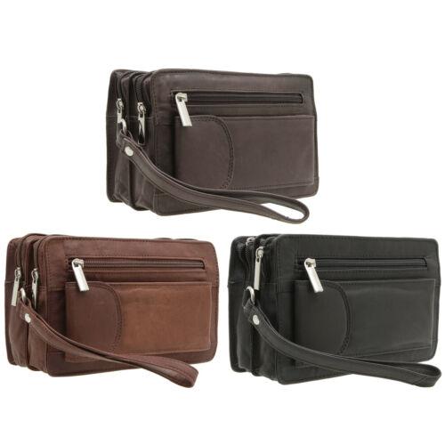 Herren echt Leder Handgelenktasche Herrenhandtasche Dokumententasche in 3 Farben