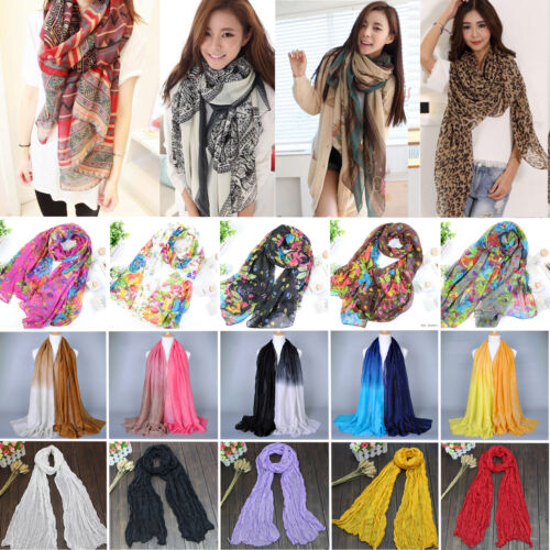 Scarf - Womens Long Soft Scarf Wrap Shawl Vintage Voile Scarves Fashion Head Neck Stole