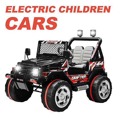 Jeep Style Kids Ride on Toy Cars 12V Electric Battery Powered with USB Black