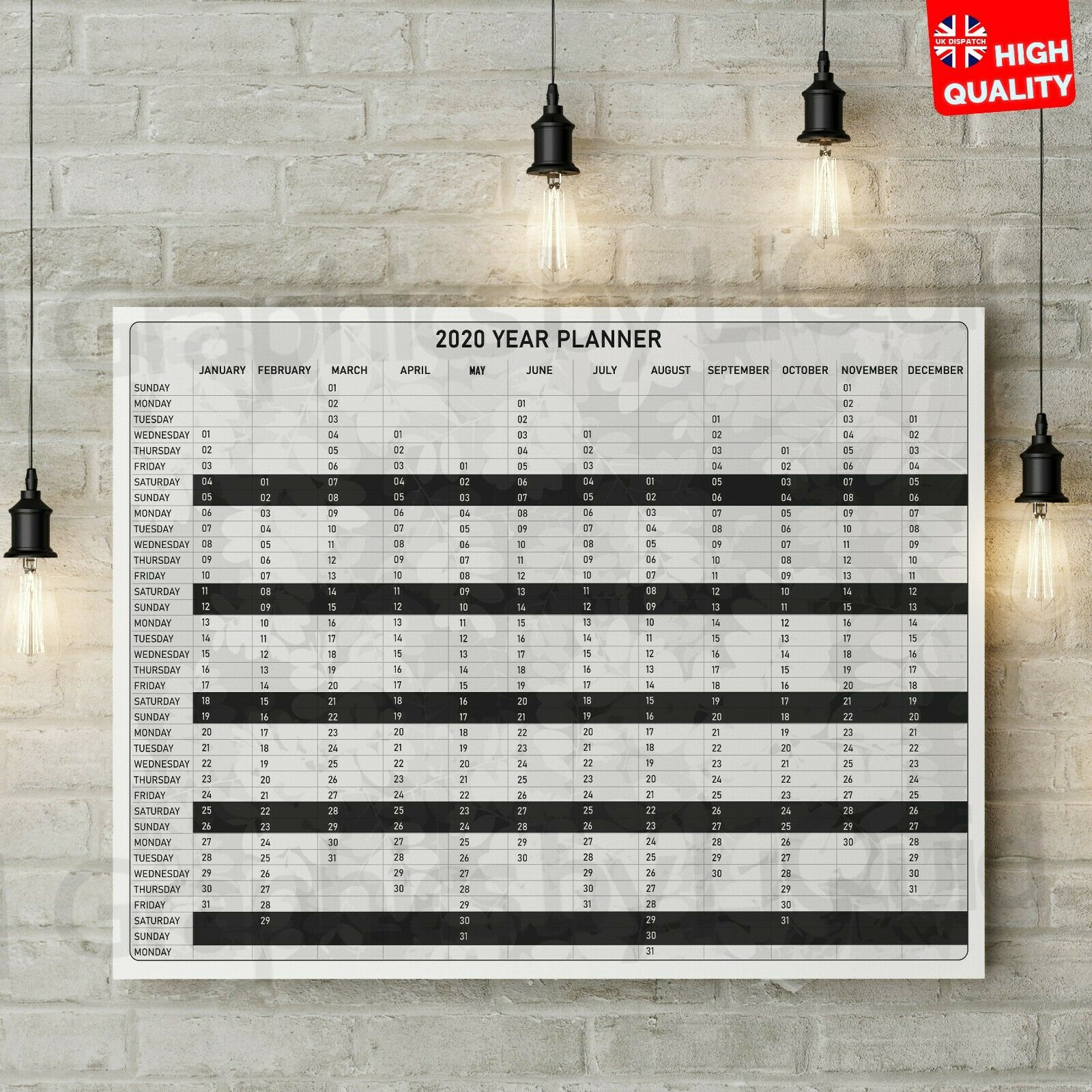 2020-2021 Mid-Year Wall Calendar Dry Erase Wall Planner Diary Year LARGE Sizes
