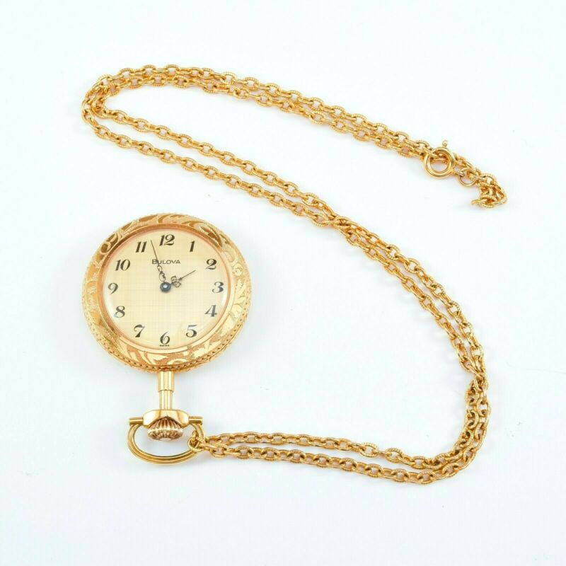 """Swiss Made Bulova Mechanical Wind Up Necklace Pendant Watch with 24"""" Chain"""