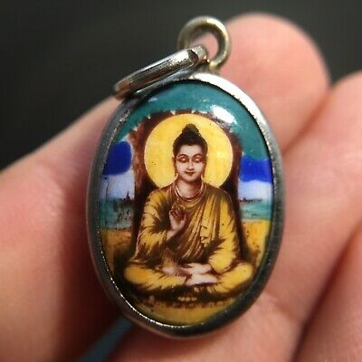 Mini Buddha under Bodhi Tree Enlightenment Thai Amulet Luck Rich Wealth Protect.