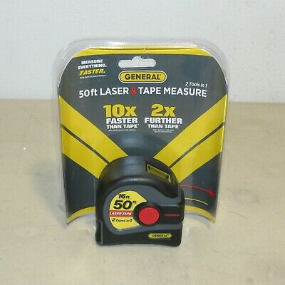 General Ltm1 50 Ft. Laser And Tape Measure 2 In 1 Lcd Display