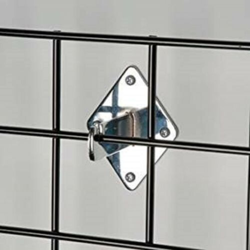 Gridwall Wall Mount Bracket - Grid Panel Mounting Brackets -Chrome - 12 Pieces