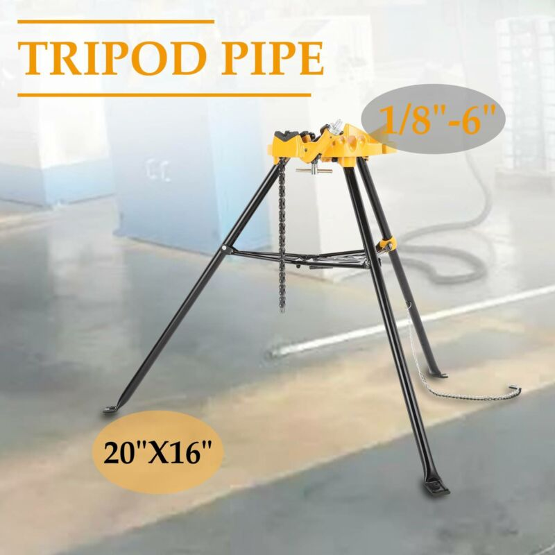 """Portable 460-6"""" Tripod Pipe Chain Vise Stand w/ Large Base O"""