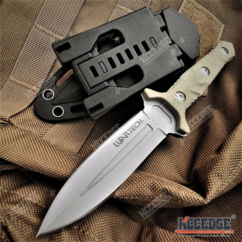 """8"""" Tactical Knife G10 Handle w/ Molle Compatible Kydex Sheath Hunting Knife"""