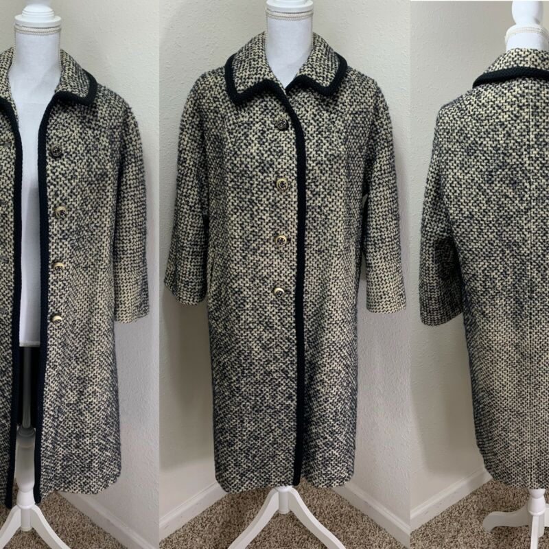 1960s Black/White Tweed Wool Car Swing Mod Coat Black/White GoGo L/XL
