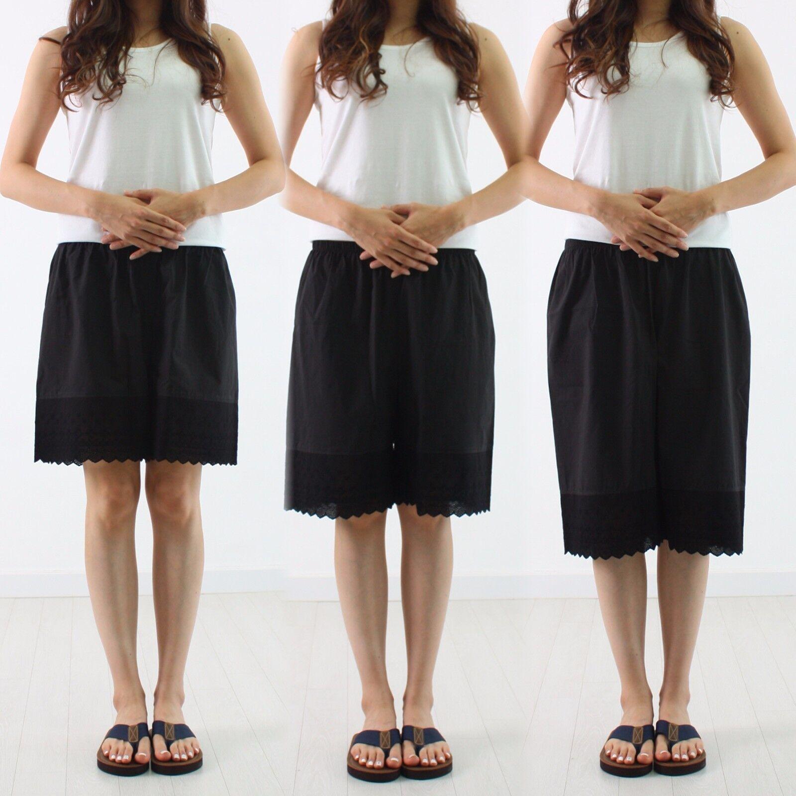 Womens-Cotton-Black-Lace-vintage-Pettipants-Under-Pants-Unde
