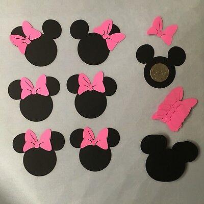 30 Disney Minnie Mouse Heads 2.5 Inch Die Cuts w/bows,Confetti,Scrapbook,Parties](Minnie Mouse Confetti)