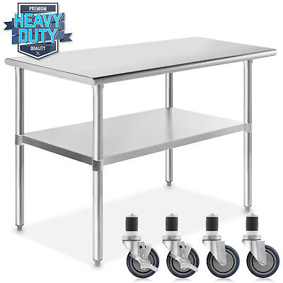 Stainless Steel 24 X 48 Nsf Commercial Kitchen Work Food Prep Table W Casters
