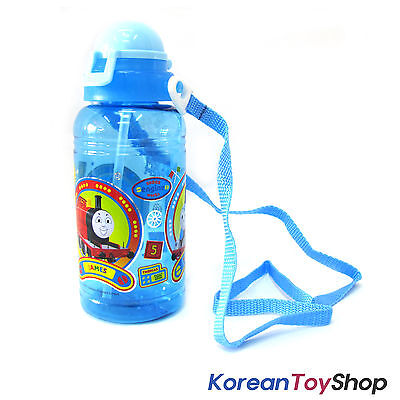 Thomas & Friends Plastic Cap Water Bottle w/ Straw Neck String Made in Korea