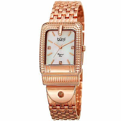 Women's Burgi BUR171RG Mother of Pearl Diamond Dial Buckle Design Bracelet Watch