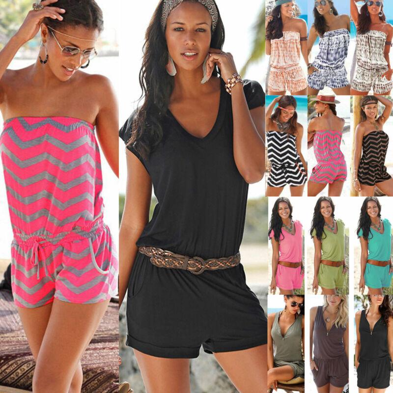 Sommer Damen Kurz Overall Jumpsuit Romper Tunika Minikleid Strand Kleid Gr.34-44