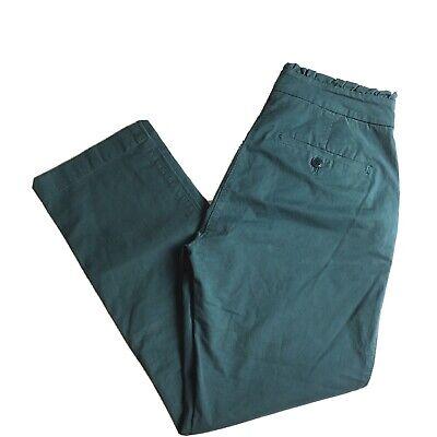J Crew Womens Chino Pants Ruffle Waist Pockets Green Sz 0P