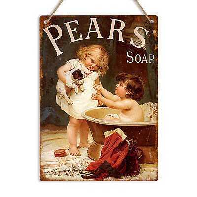PEARS SOAP Vintage Retro Metal Tin Wall Sign Plaque Advert Bathroom Shabby Chic