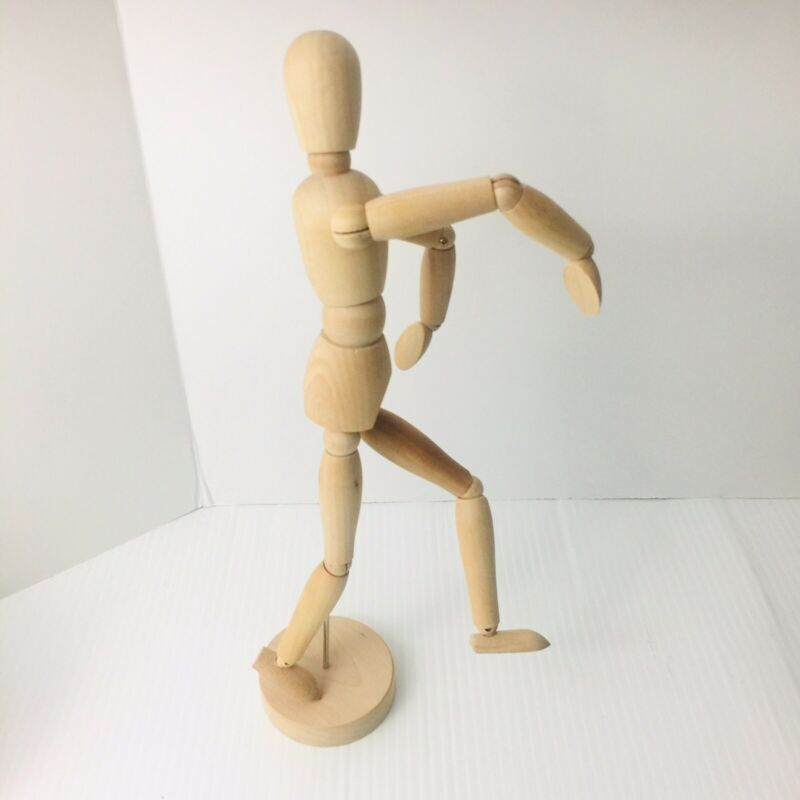 "Articulated Wooden Figure Adjustable Poseable on Stand 12"" Tall - 13"" w base"