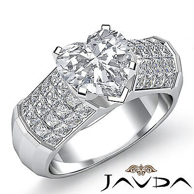 4 Prong Invisible Set Heart Cut Diamond Engagement Ring GIA I VS2 Clarity 2.2Ct