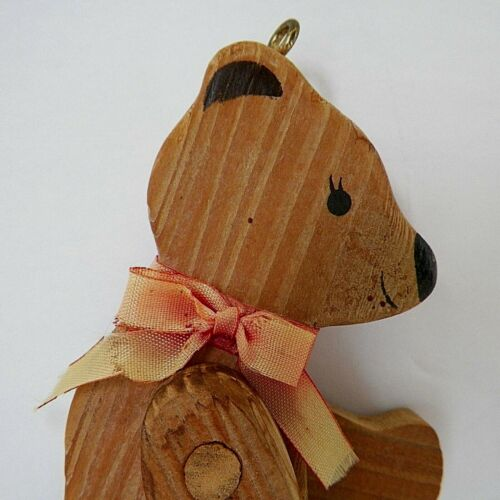 """Vintage Wooden Toy Bear or Ornament with Movable Arms and Legs 5"""" High"""