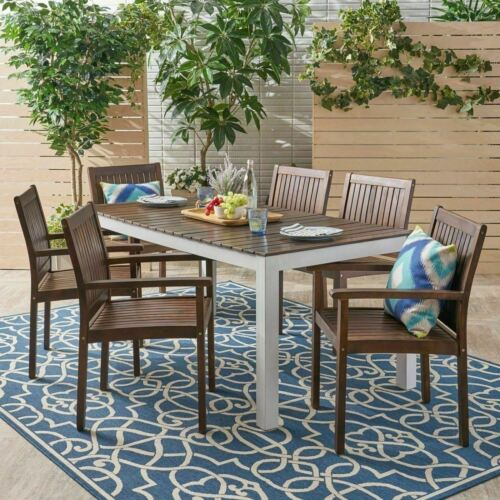 Noe Outdoor 7-Piece Acacia Wood Dining Set, Dark Brown and White Home & Garden