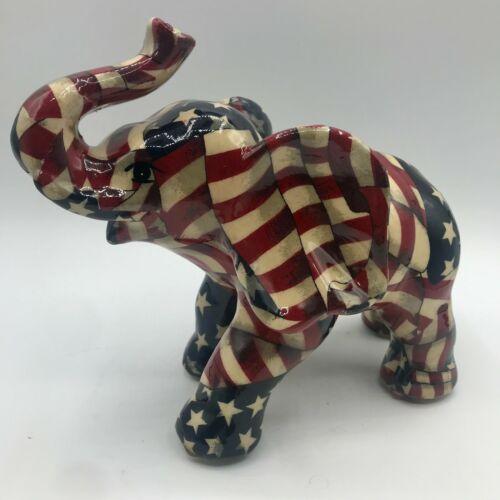 "Vintage La Vie Large Patriotic Ceramic Elephant Republican USA Quilted Flag 7"""