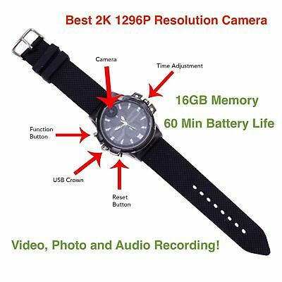 Best 2K 1080P Full HD Hidden Spy Watch DVR Body Camera 16GB Audio