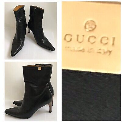 Vintage 2004 Tom Ford For Gucci Black Leather Ankle Boots Size 8 Unworn