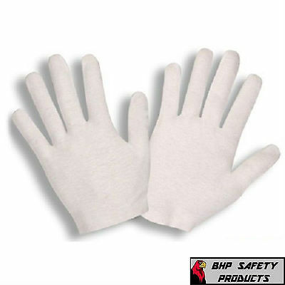24 Pair White Inspection Cotton Lisle Gloves Coin Jewelry Lightweight