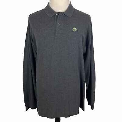 Lacoste Men's Long Sleeve Polo Shirt Size 8 Large Dark Gray Charcoal Cotton